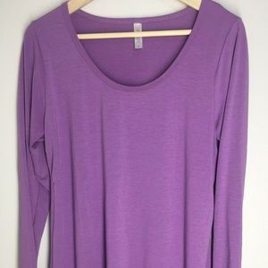 Lularoe Lynnae Solid Purple Long Sleeve Tee Top L